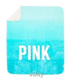 Victoria's Secret Pink Sherpa Teal Blue Ombre White Logo Soft Throw Blanket