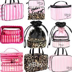 Victoria's Secret Pink Striped Cosmetic Bags Travel Case Bling Vs Patch Sale