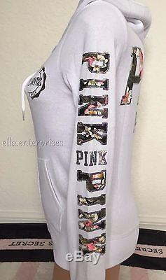 Victoria's Secret Pink White Floral Silver Sequin Bling Zip Up Hoodie Large