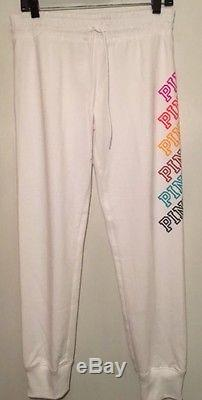 Victoria's Secret Pink White Rainbow Perfect Full Zip Hoodie & Pants Set M NWT