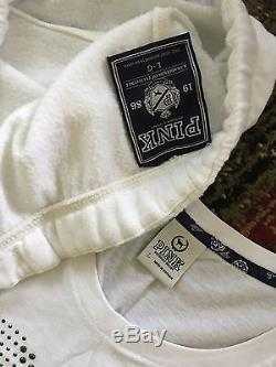 Victoria's Secret Pink White Rainbow Sweat Pants Sz L HTF Rare T Shirt Set