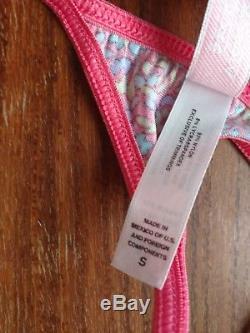 Victoria's Secret Second Skin Satin V-String Thong Small Pink Floral vintage