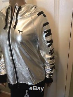 Victoria's Secret love pink M hoodie sweatshirt silver bling Black Pant LG