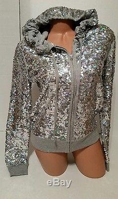 Victoria's secret pink Hoodie Jacket Fashion Show Bling Sequins Rare Size S