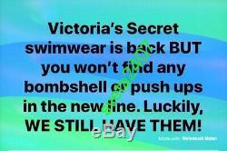 Victorias Secret BikiniJewel Rhinestone Bombshell Add 2Cup HalterCheeky36B/M