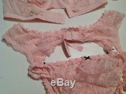 Victorias Secret Dream Angels Demi Bra Panty Garter Stockings Set 32DD, XS/S, S