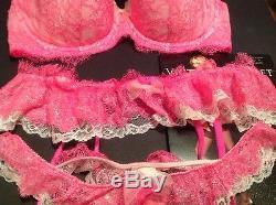 Victorias Secret Dream Angels Demi Bra Panty Garter Stockings Set 34DD, XS/S, M