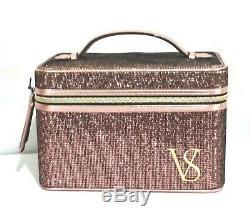 Victorias Secret HARD SHELL GLITTER MESH BLING VANITY TRAIN CASE Cosmetic NWT