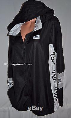 Victorias Secret PINK Anorak Full Zip Hoodie Windbreaker Black White Hoodie XS/S