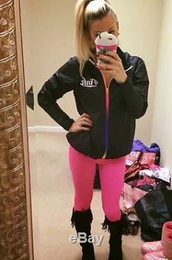 Victorias Secret PINK Anorak Ombré Rainbow ZIP Windbreaker Jacket Hoodie M/L