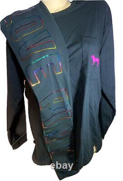 Victorias Secret PINK Bling Cotton Leggings & L/S Tee Shirt Neon Set XLNWT