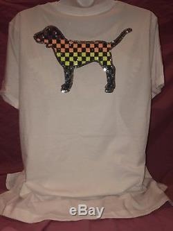 Victorias Secret PINK Bling Dog Campus Checkered Rainbow Tee Leggings Set M NEW