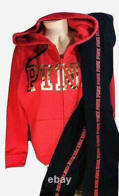 Victorias Secret PINK Bling Hoodie & Leggings Set L XL NWT Full Zip