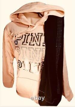 Victorias Secret PINK Bling Pullover Hoodie & Leggings Set RARE L XL NWT