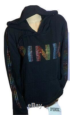 Victorias Secret PINK Bling Pullover Hoodie Rainbow Rhinestone NWT XL RARE