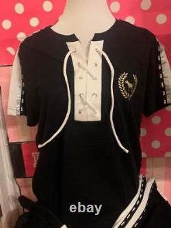 Victorias Secret PINK Campus Bling Tee and SEquin Track Pants Set SZ M/L New