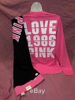 Victorias Secret PINK Cotton Leggings L/S Campus Hot Pink Tee Set Large L XL