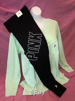 Victorias Secret PINK Cotton Leggings L/S Campus Neon Green Tee Set Large XL