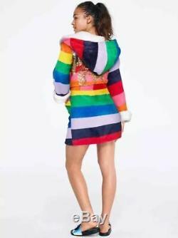 Victorias Secret PINK DOG SEQUINS BLING RAINBOW PLUSH HOODIE ROBE NWT M / L