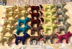 Victorias Secret PINK Dog Lot Of 25 Gold Sport Plush Stuffed VS Plaid Cheetah