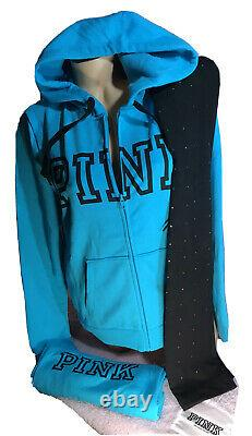 Victorias Secret PINK Full Zip Hoodie & Bling Leggings set NWT 2PCS Large/XL