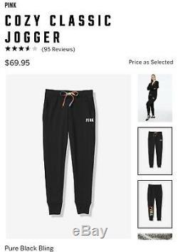 Victorias Secret PINK Full Zip Hoodie Jacket Jogger Sequin Bling Set Sz Small