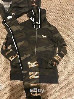Victorias Secret PINK Full Zip Hoodie & Pants Set Bling Camo Large