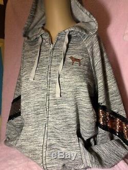 Victorias Secret PINK Full Zip Hoodie & Shorts Set Bling Flip Sequins S M L