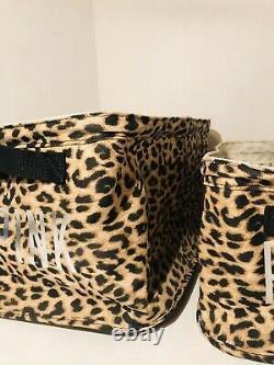 Victorias Secret PINK Leopard Print Storage Bin Container Set of 2 Rare New
