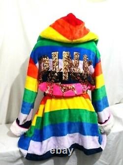 Victorias Secret PINK RAINBOW SEQUINS BLING HOODED SHERPA ROBE HOODIE NWT M / L