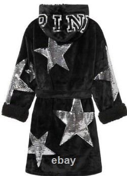 Victorias Secret PINK STARS Sequin SHERPA Bling Plush Hoodie Robe NWT XS / S