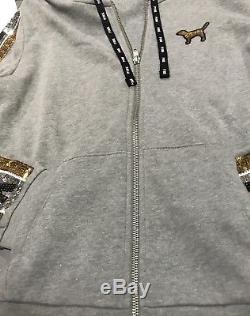 Victorias Secret PINK Sequin Bling Full Zip Grey Hoodie Small/Jogger Pant XS