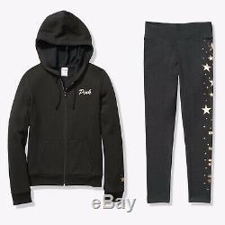 Victorias Secret PINK Sequin Bling Full Zip Jacket And Legging Set Sz Medium