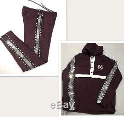 Victorias Secret PINK Sequin Bling Sport Jacket/Bling Burgandy Pants Set (M)