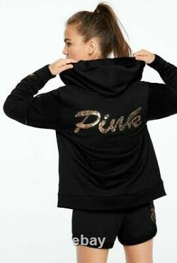 Victorias Secret PINK Sequin Logo Sweatshirt Jacket Hoodie Full Zip Large Black
