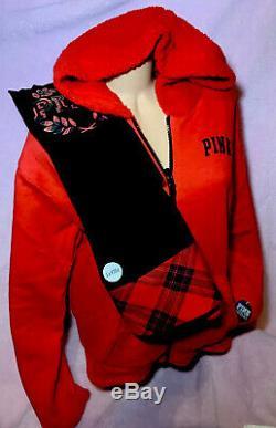 Victorias Secret PINK Sherpa Hoodie Full Zip & Leggings Set XL L Reversible
