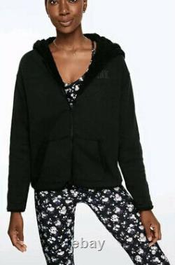 Victorias Secret PINK Sherpa Lined Zip Hoodie Leggings Set S M L Reversible