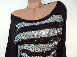 Victorias Secret PINK Womens T Shirt Medium Top Sleeve Black Silver Sequins Nwt