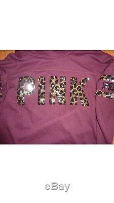 Victorias Secret Pink BLING Leopard Print Cowl Neck Pullover Hoodie Swestshirt