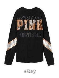 Victorias Secret Pink BLING SET Leggings Campus Varsity Pullover Tee Shirt L XL