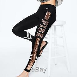 Victorias Secret Pink BLING SET Leggings V Neck Long Sleeve Sequin Tee Shirt M