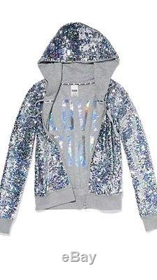 Victorias Secret Pink BLING Sequin Fashion Show 2013 Hoodie Jacket Sweatshirt L