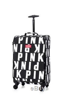 Victorias Secret Pink Black Logo Carry On Wheelie Luggage Suitcase Duffle Bag