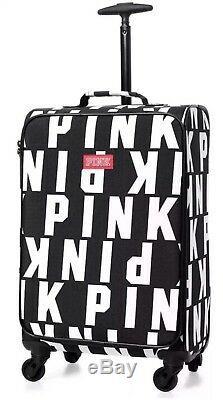 Victorias Secret Pink Black Logo Carry On Wheelie Luggage Suitcase New