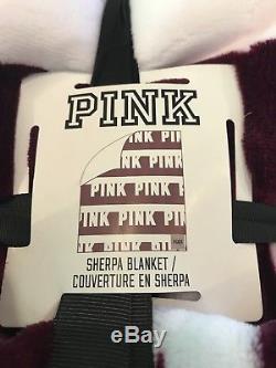 Victorias Secret Pink Black Orchid Burgundy Logo Sherpa Blanket NWT