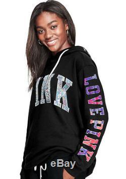 Victorias Secret Pink Bling Sequin Hoodie Sweatshirt XS S M L Black Tie Dye Logo