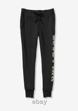 Victorias Secret Pink Bling Skinny Joggers Sweatspants Leopard Small S Black