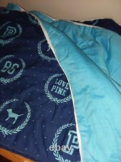 Victorias Secret Pink Blue Dog Logo Comforter Pillow Case Sheet Rug Twin Rare