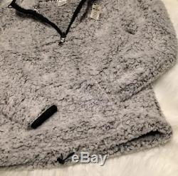 Victorias Secret Pink Boyfriend Quarter Zip Sherpa Frosted Marl Gray Large NWT