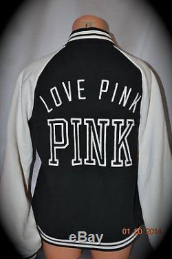 Victorias Secret Pink Graphic LOVE PINK Varsity Crew Jacket Coat NWT S
